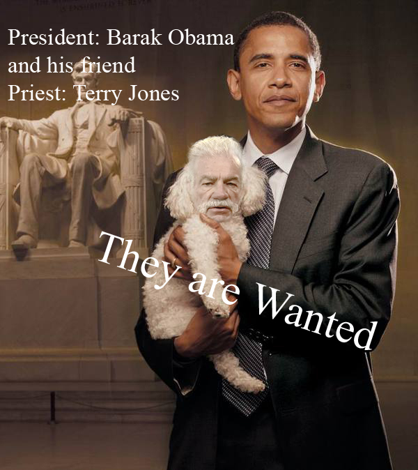 کشیش تری جونز و رئیس جمهور باراک اوباما   Priest Terry Jones and President Barak Obama